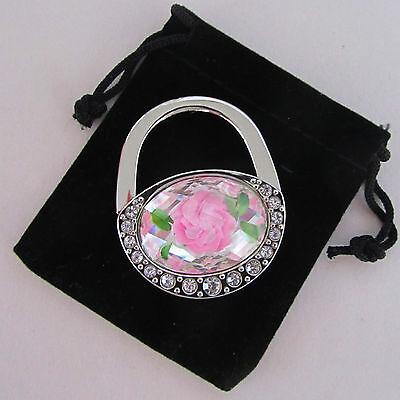 Pink Flower Shape - Pink Flower Oval Handbag Shape, Folding Purse Hanger/Caddy (MrSales)