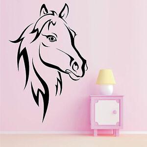 Sticker d calque art mural t te cheval chambre enfants - Theme chambre fille ...