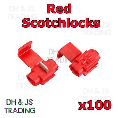 100 x Red Scotchlock Wire Connectors Scotchlocks Splice Terminal Crimp Scotchlok