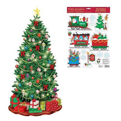 Christmas Window Stickers and Scene Setter Bundle House Decorating Kit