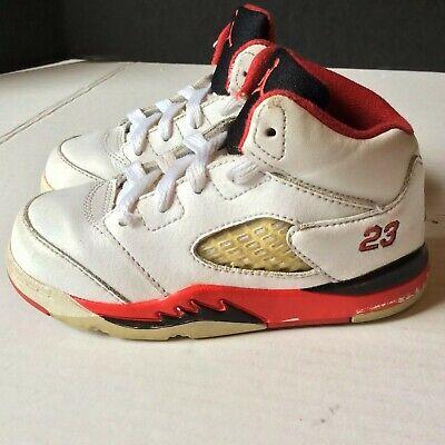 Nike Air Jordan V 5 Retro Toddler Shoes size 8C Fire Red White Black 440890-120