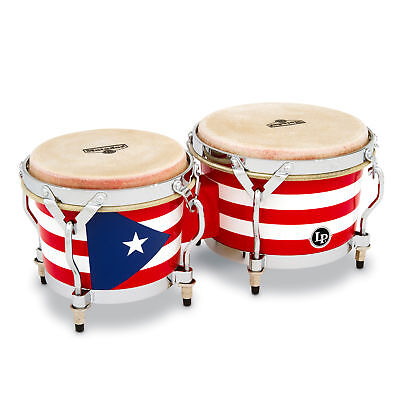 - Latin Percussion LP Matador Wood Bongos Puerto Rico Flag