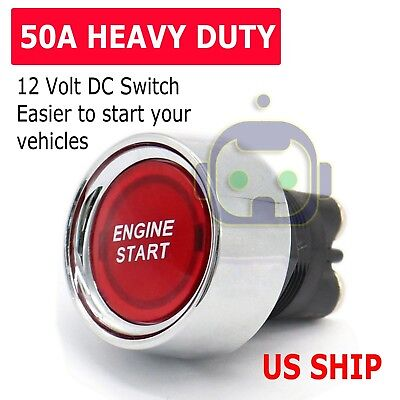 12 Volt Dc Led Light Heavy-duty Momentary Push-button Starter Switch 50 Amps