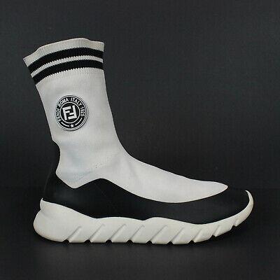 Rare Fendi Logo High Top Sock Shoes Knit White Leather Trainers Mens US 10 EU 43