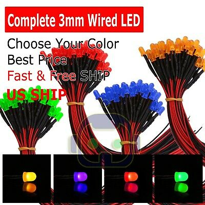 Red White Green Blue Orange 3mm Pre Wired Cabled 912volt Led Built-in Resistor