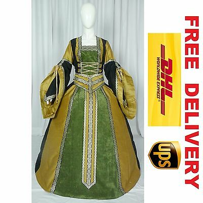 MEDIEVAL RENAISSANCE TUDOR WEDDING HANDFASTING LARP GOWN DRESS COSTUME --- 18L