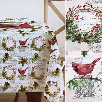 Envogue Christmas Tablecloth Cardinal Pine Wreath Pinecone Paris 60x120 90R NEW