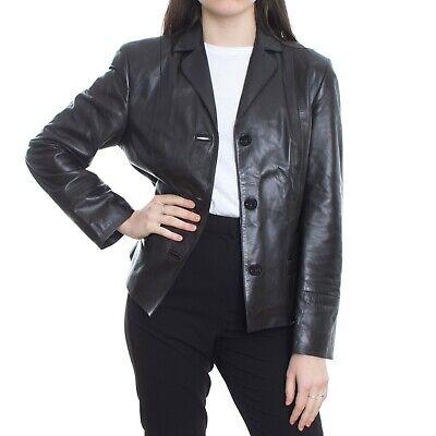 Iris V Von Arnim Leather Jacket Women's Size 36 S US 6 Black Brown Blazer Button