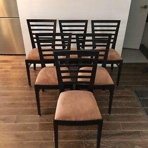 Six Solid Birch Upholstered Wood Dining Chairs