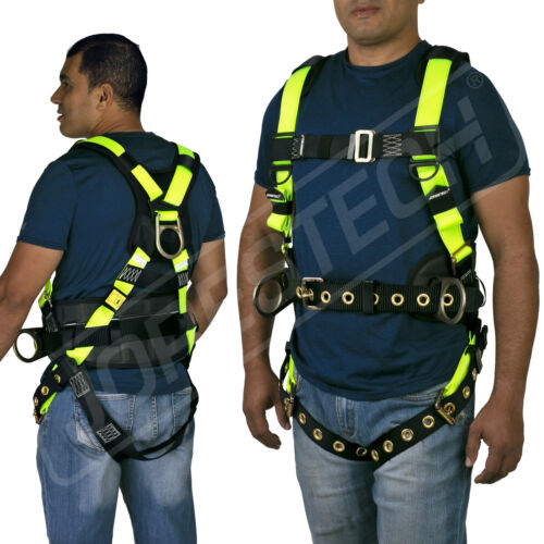 Safety Harness 3D Ring grommets Fall Protection Back Support ANSI OSHA JORESTECH