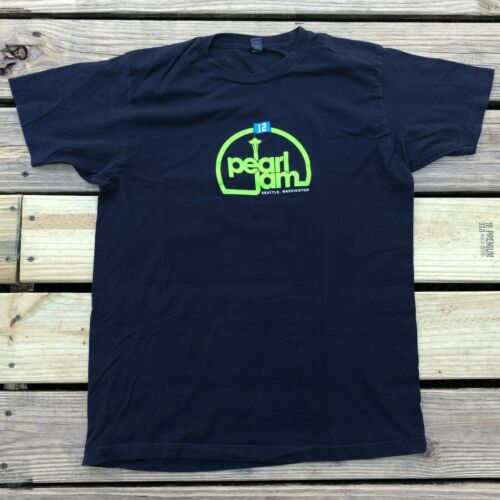 Pearl Jam T-Shirt Seattle Ames 12 Size L Large Green Navy Blue Needle