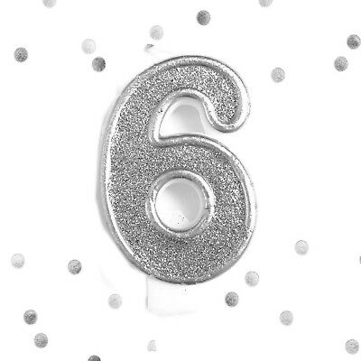 Silver Glitter 6th Birthday Candle Number 6 Silver Six Number Cake Topper
