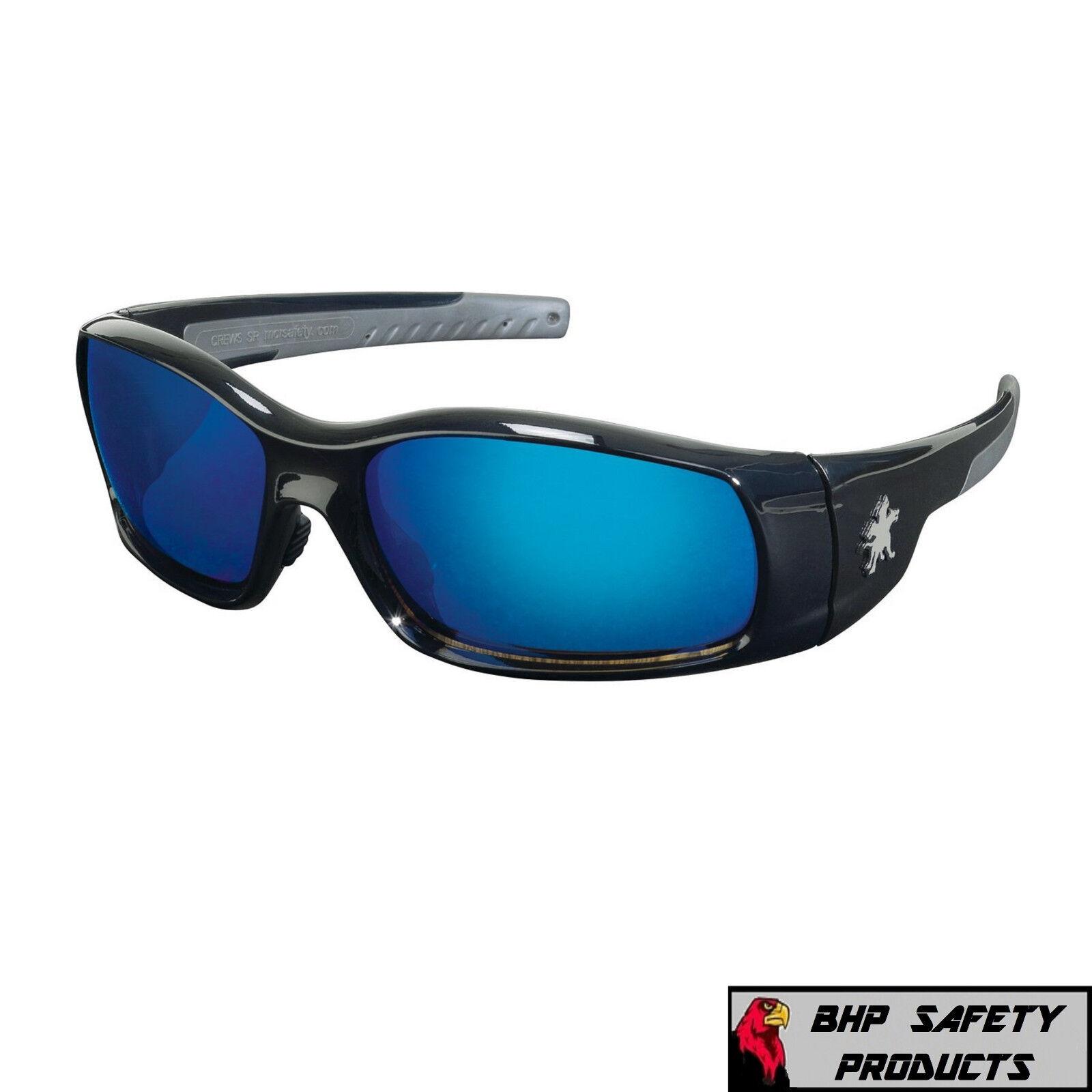 MCR CREWS SWAGGER SAFETY GLASSES SUNGLASSES WORK SPORT EYEWEAR CHOOSE YOUR COLOR SR118B BLUE MIRROR/BLACK FRAME