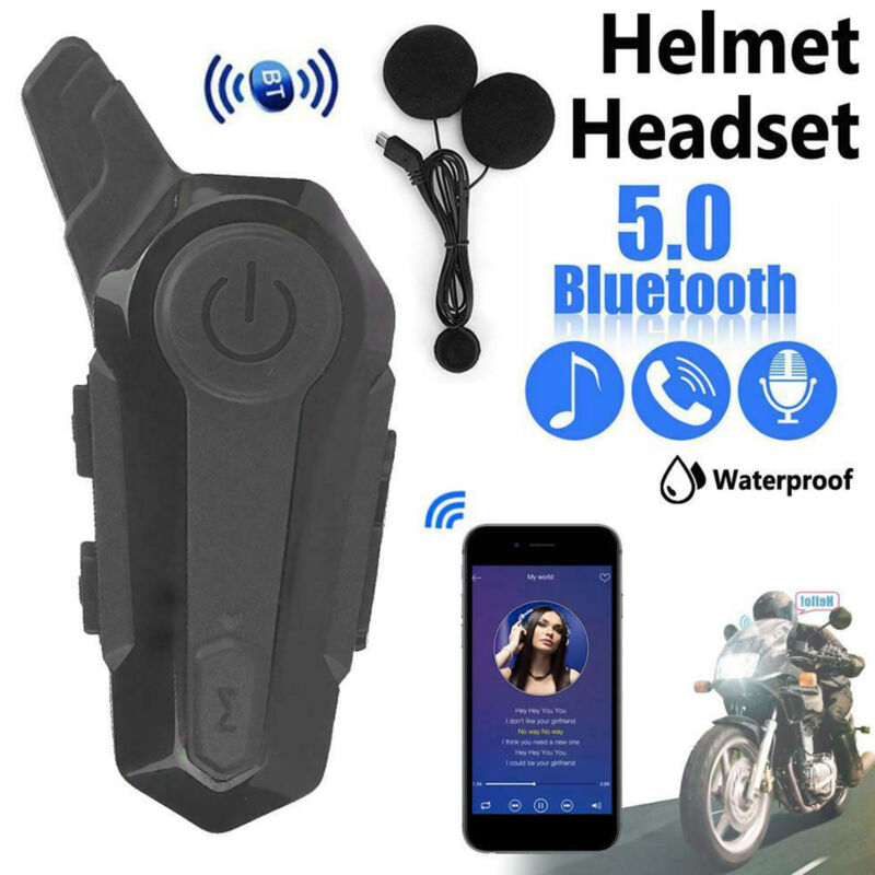 Bluetooth 5.0 Motorcycle Helmet Intercom Headset Interphone Speaker Headphone