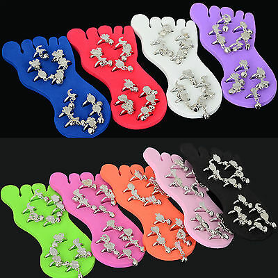 Newly Wholesale Jewelry Lots Mixed Colors 12pcs Foot Toe Rings with Display Bulk