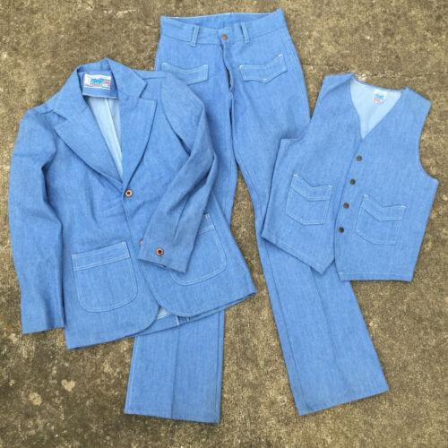 Vtg Denim 70s Atomic Mod Hippy Disco Dance Hollywood 3 Piece Suit Jacket Pants