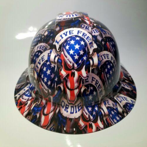 NEW FULL BRIM Hard Hat custom hydro dipped LIVE FREE OR DIE USA AMERICA sick 5