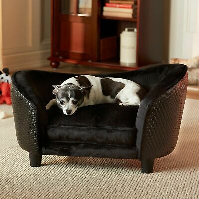 Pet Plush Wood Sofa Bed Dog Luxury Seat Chair Cat Black Removable Cover Washable Black Plush Dog Bed