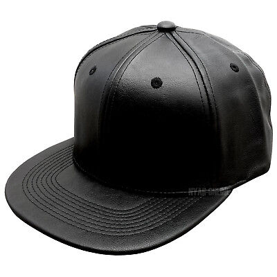 NEW LEATHER SNAPBACK CAP *BLACK* BASEBALL HIP HOP ERA PLAIN FITTED FLAT PEAK HAT
