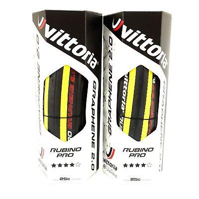 Vittoria Rubino Pro Road Bike Tire G+ 2.0 GRAPHENE 700 x 25c Black / Yellow -