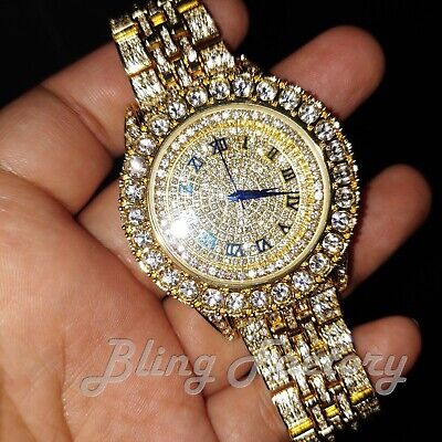 Men's Hip Hop Iced Gold PT Rapper Bling Lab Diamond Metal Band Urban Style Watch