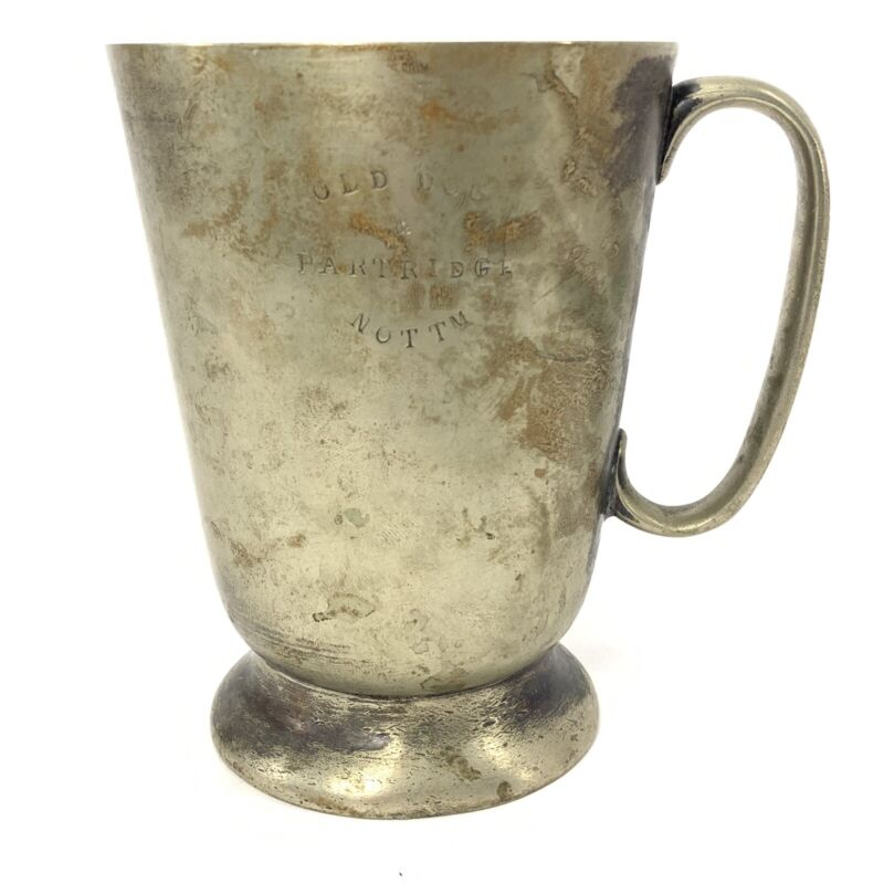 Antique 1932 Old Dog & Partridge Pub Pint Beer Mug Hallam Nottm UK Silver Plated