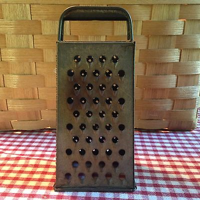 Vintage Antique BROMCO 4 Sided Primitive Tin Cheese Vegetable Grater