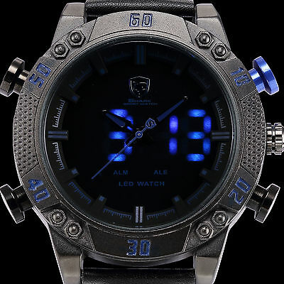SHARK Luxury Men's Blue LED Digital Date Leather Sport Analog Quartz Wrist Watch