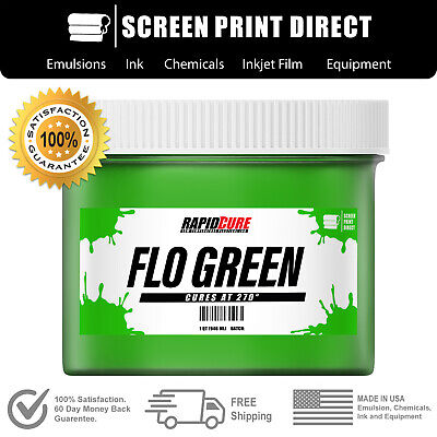 Fluorescent Green - Screen Printing Plastisol Ink - Low Temp Cure - 8oz