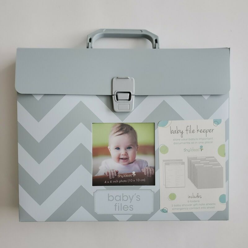 Tiny Ideas Baby File Keeper Important Document Grey and White Emergency Contact