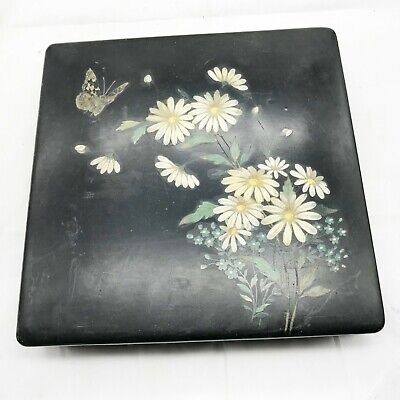 ANTIQUE ART DECO HAND PAINTED LACQUERWARE BUTTERFLY JEWELLERY LIDDED TRINKET BOX