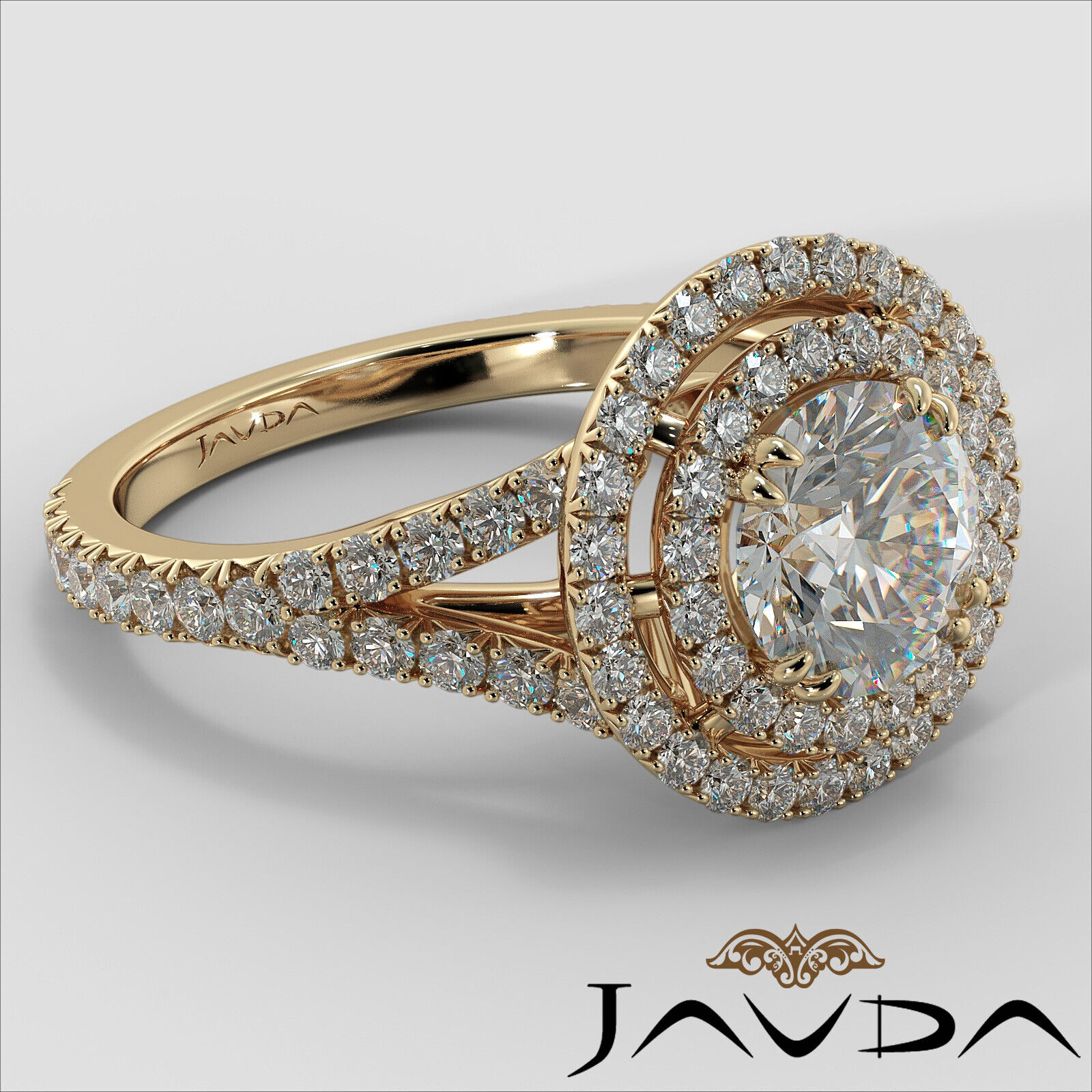 2.05ct French Pave Gala Halo Round Diamond Engagement Ring GIA F-VVS1 White Gold 9