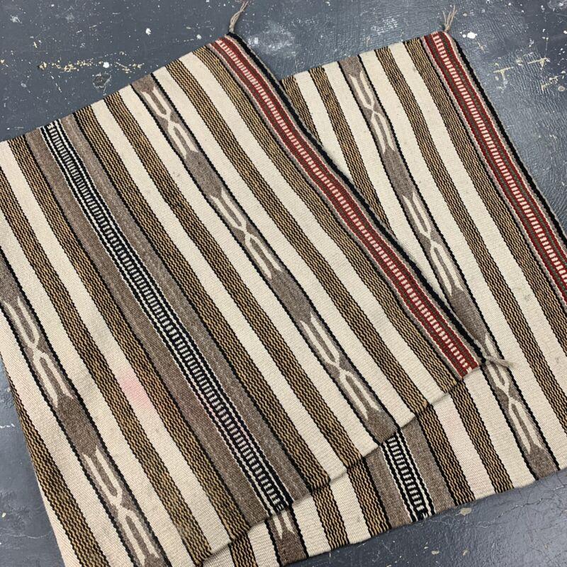 VTG Rio Grande Blanket Navajo Rug Native American Striped Weaving 60x29 Saddle