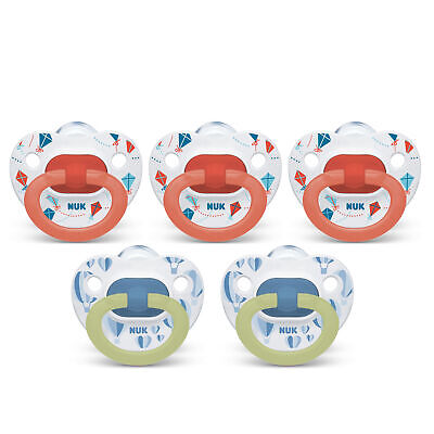 NUK Orthodontic Pacifiers 5-Pk 6-18 Months (Exclusive edition) Glow in the Dark