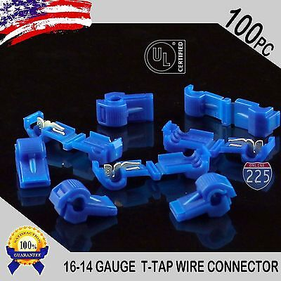 100 Pack T-taps Blue 16-14 Awg Gauge Quick Slide Connectors Car Audio Alarm Ul