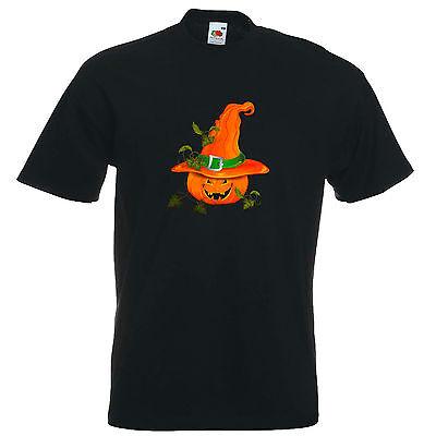 T-Shirt Halloween 8 - Kürbis freundlich mit Hut - Fasching - Karneval -  Horror (Halloween Kuerbis)
