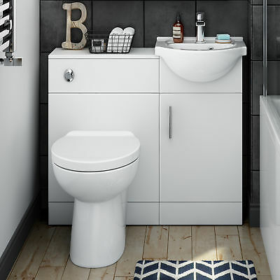 Combined Vanity Unit with Toilet and Sink 910mm | Bathroom Furniture Matte White
