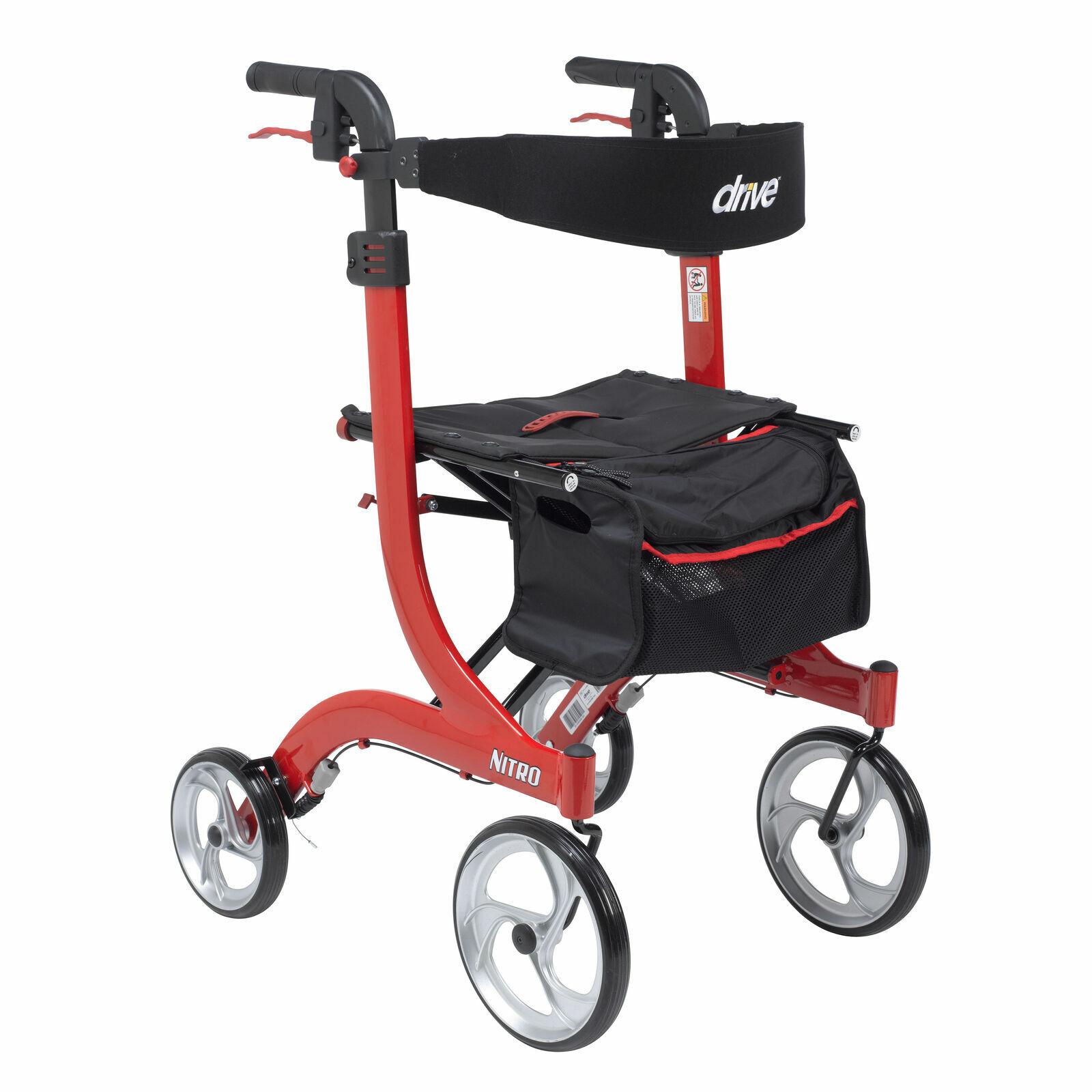 nitro euro style walker rollator - tall in red   rtl10266-t