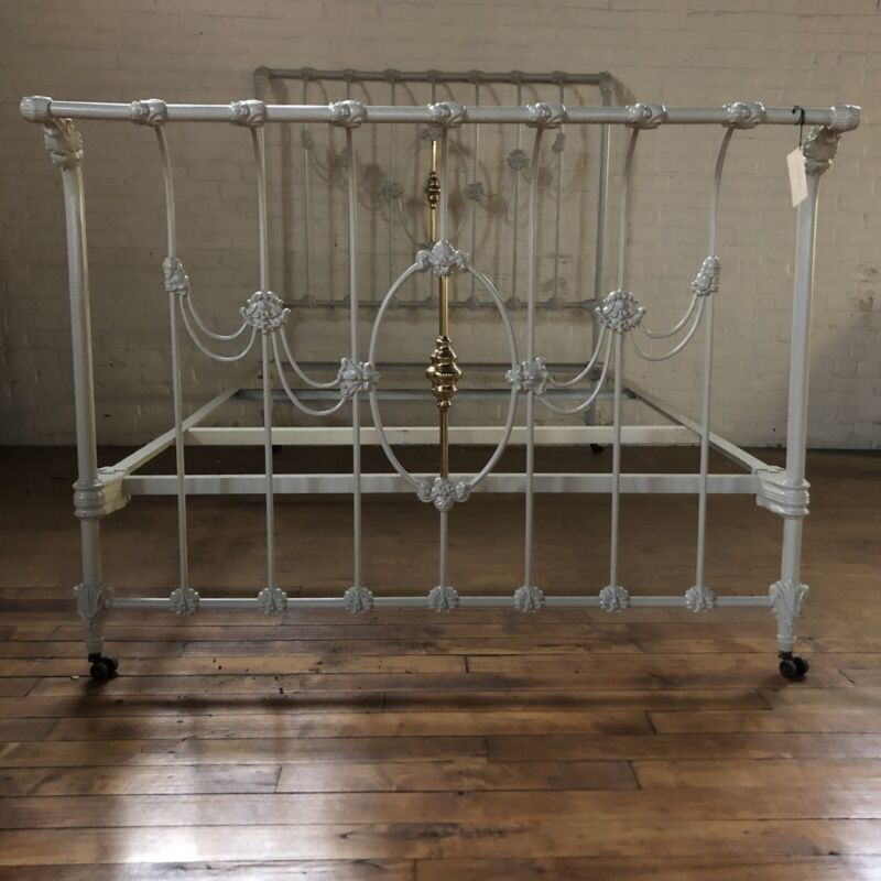 Ornate Victorian Iron & Brass Double Bed