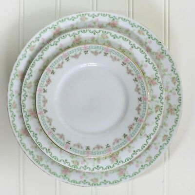 Vintage China Plate Collection Set of 3 Shabby Pink Green Farmhouse Cottage #6 - Green Plate Set