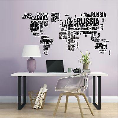 eber Weltkarte Länder Landkarte Wohnzimmer Deko Motiv 739 XL (Aufkleber-welt)