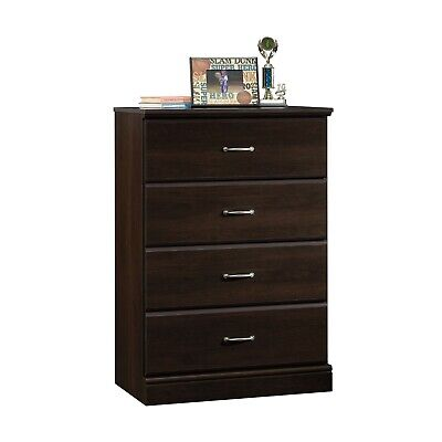 Transitional Design Deep 4-Drawer Chest, Metal Runners Espresso Finish Wood  Deep Espresso Finish