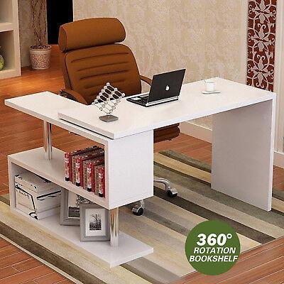 L Shape Computer Desk Corner Laptop Workstation Student Writing Table Bookshelf, used for sale  USA