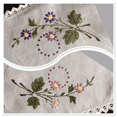 """Lovely Vintage Linen Tray Cloth Hand Embroidered 16""""x 24"""" VCG Pink Purple Floral"""