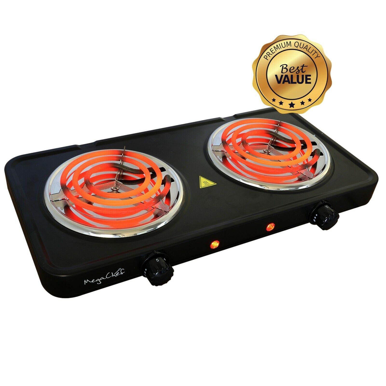 electric portable dual coil burner cooktop buffet