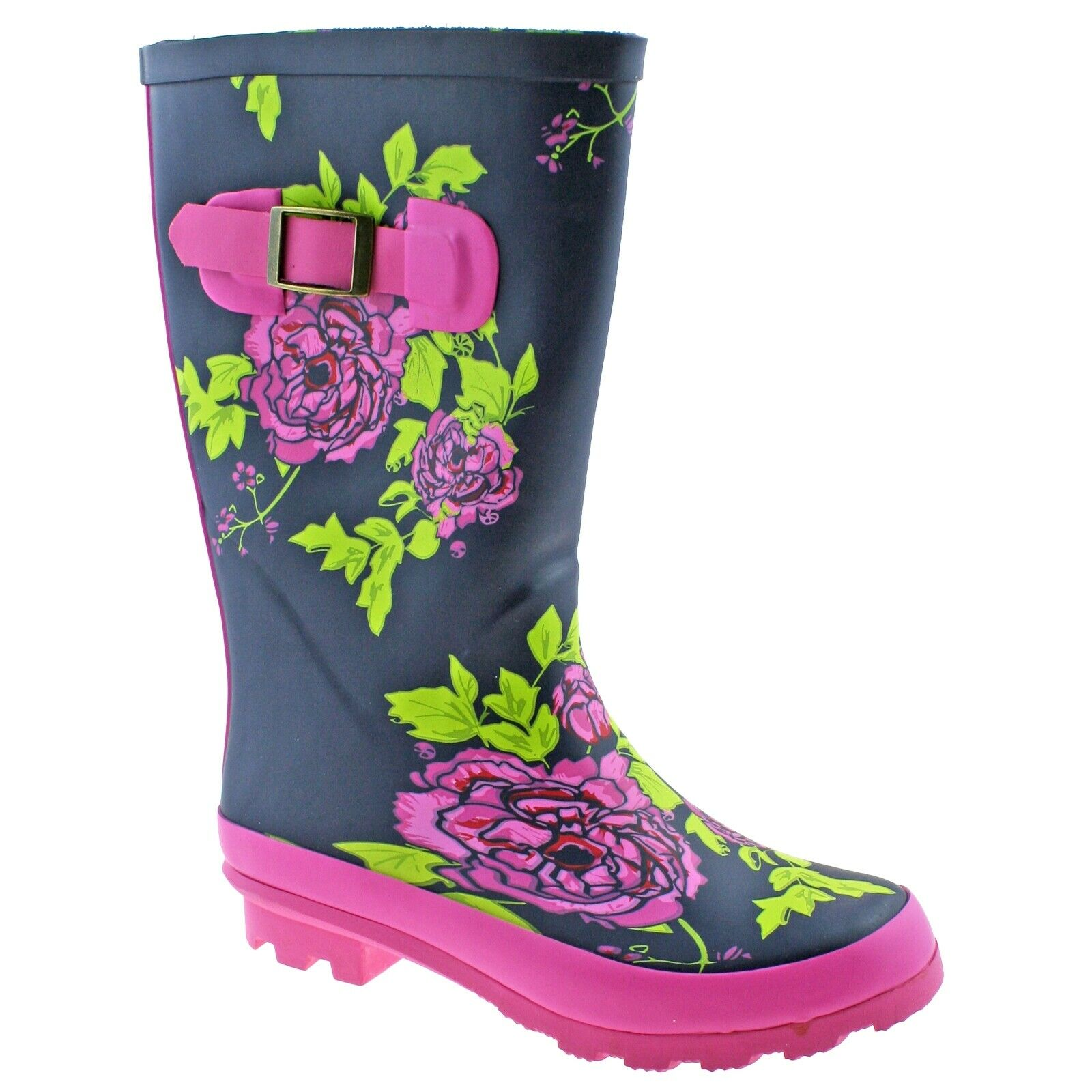 Girls Childrens Kids Pink Navy Floral Wellington Wellies Boots Size UK 10-2