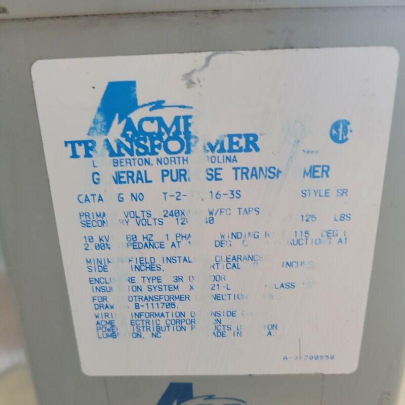 ACME T-2-53516-3S Step Down Transformer  (240/480 to 120/240, 1Ø, 60Hz,10 KVA)