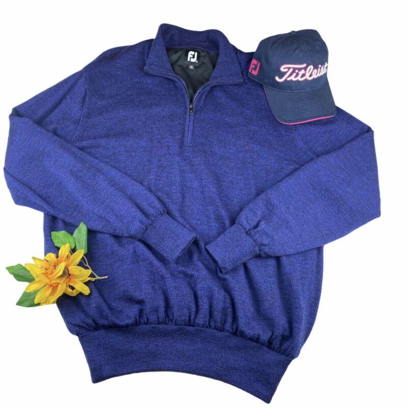 Footjoy Men's Lined Performance 1/4 Zip Wool Sweater Navy Golf Wind Sz L NWOT