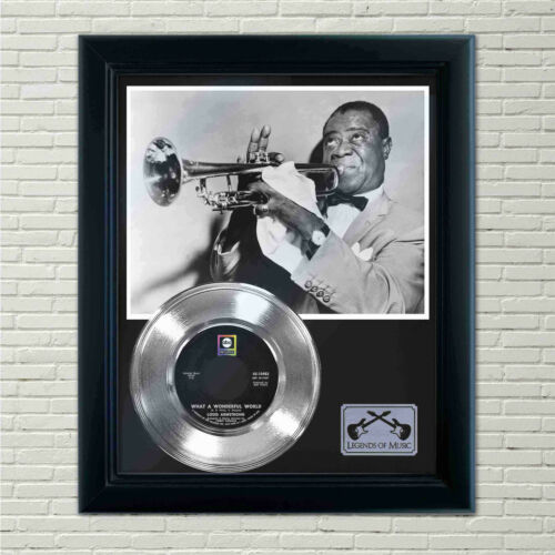 """Louis Armstrong """"What A Wonderful World"""" Silver Framed Record Display"""