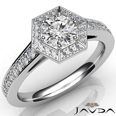 Hexagon Cut Halo Pave Set Round Diamond Engagement Ring GIA Certified D SI1 1Ct